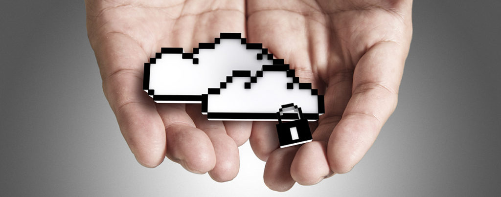 Hands holding graphic of two white clouds with a lock symbol