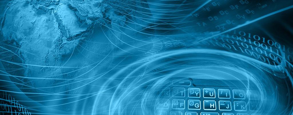 Blue globe, keyboard and numbers