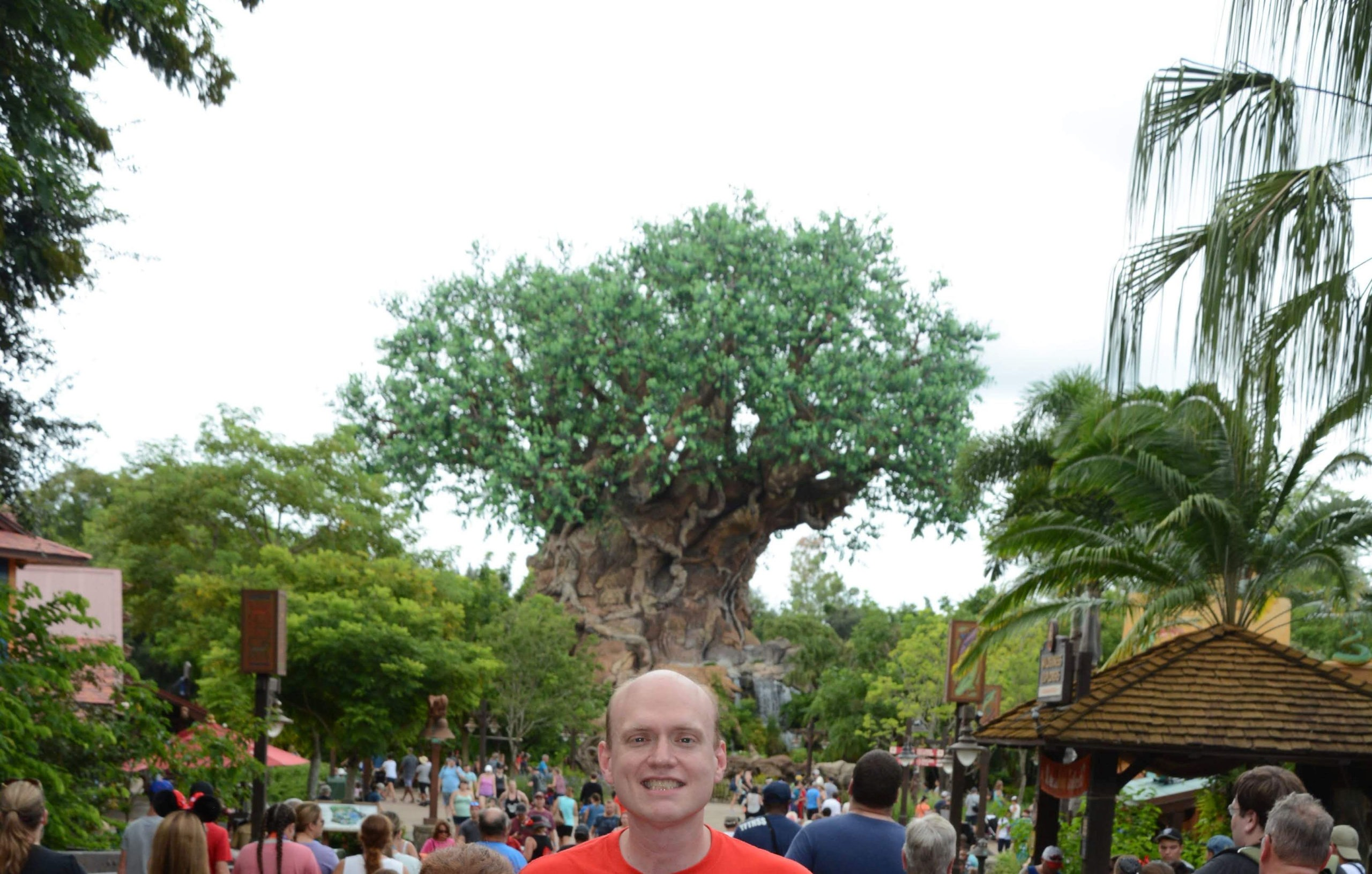 Man in orange t-shirt smiling in front of a large group of people and a big tree