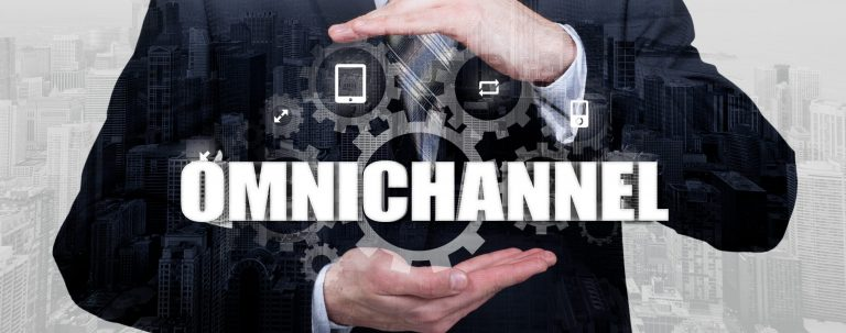 Hands cupping the words omnichannel written in white
