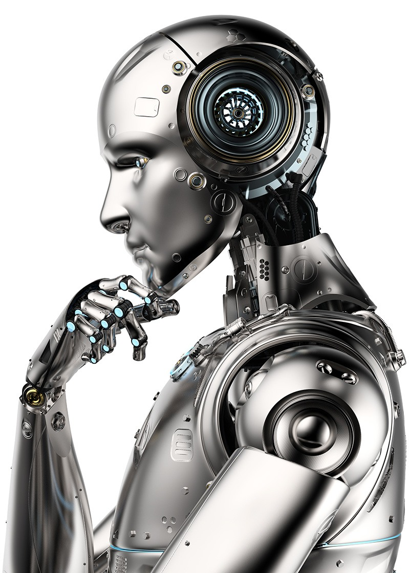 Side profile of a robot with it's hand under it's chin