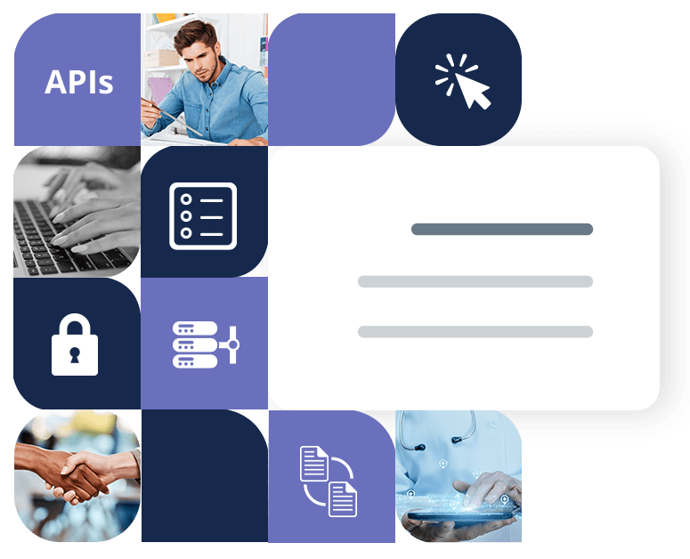 Blue and purple boxes with white icons and images of different people typing, shaking hands and working on tablets