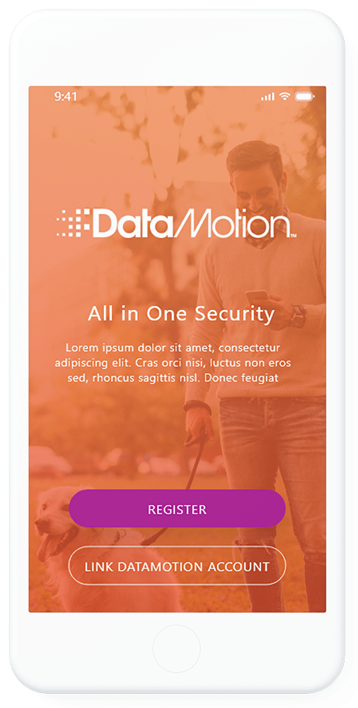 Cell phone screen with Data Motion logo on top of an image of a man walking his dog