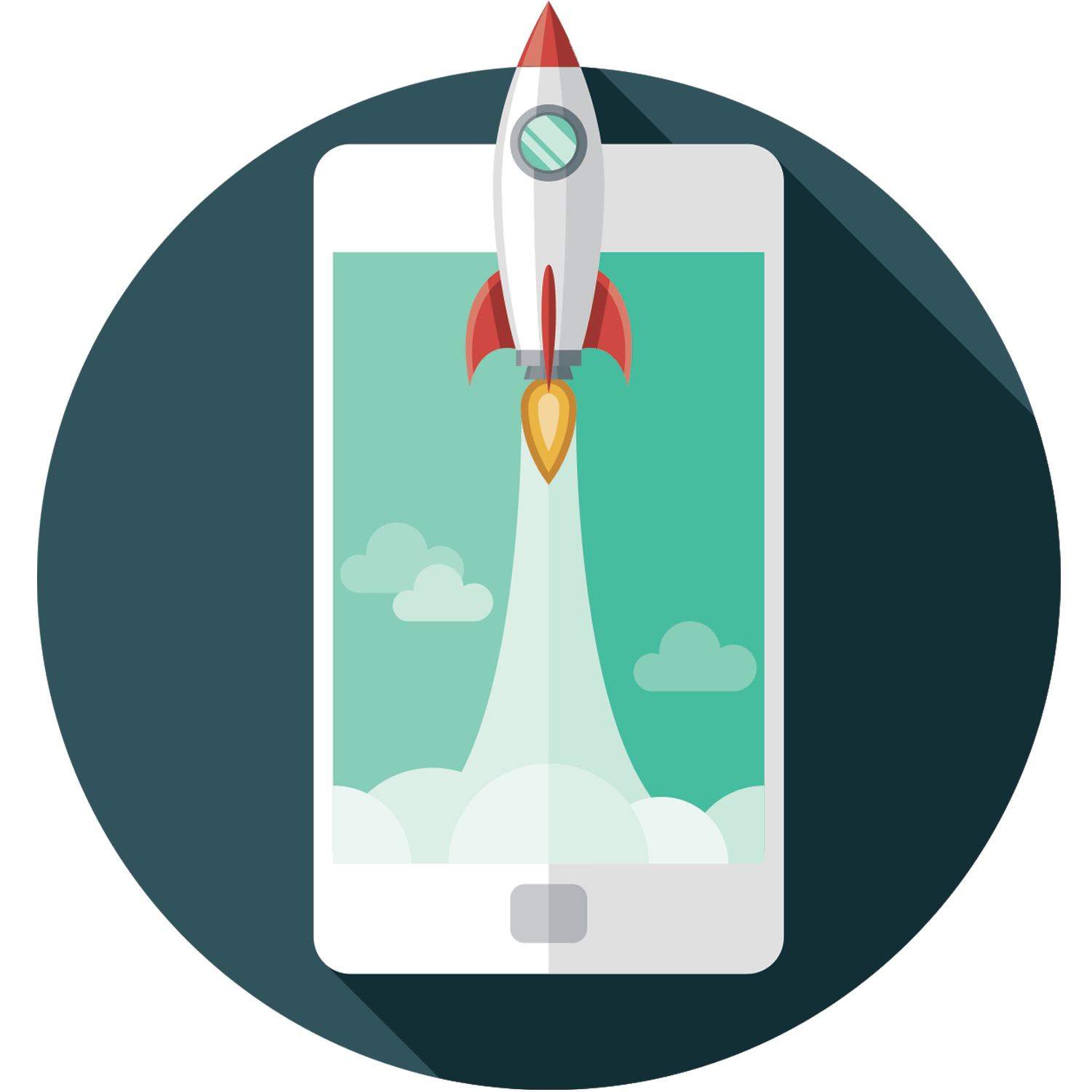 Icon of a rocket ship blasting off of a cell phone