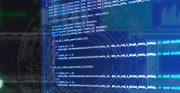 Image of API code on a blue screen