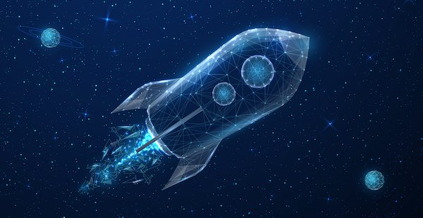 Blue rocket ship flying through space surrounded by blue planets and stars
