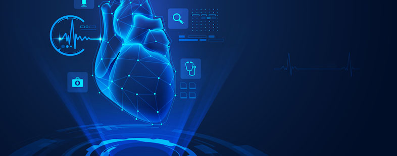 A light blue heart superimposed on a dark blue background with data points and health information technology icons surrounding the heart