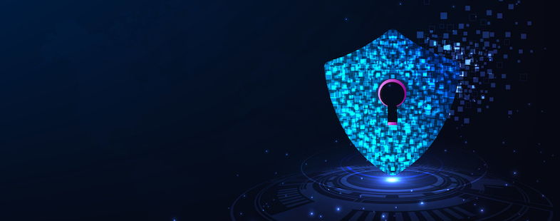 A light blue security lock with data pixels flying to the right side on a dark blue background