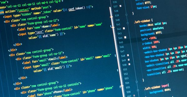Image of software development code on computer screen