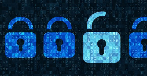 Four blue closed padlock and one white open padlock symbols on dark grey alphanumeric code pixelated background.