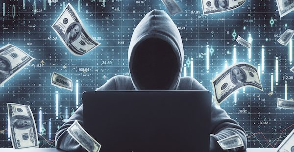 Hacker using laptop surrounded by falling dollar bills on a blue background